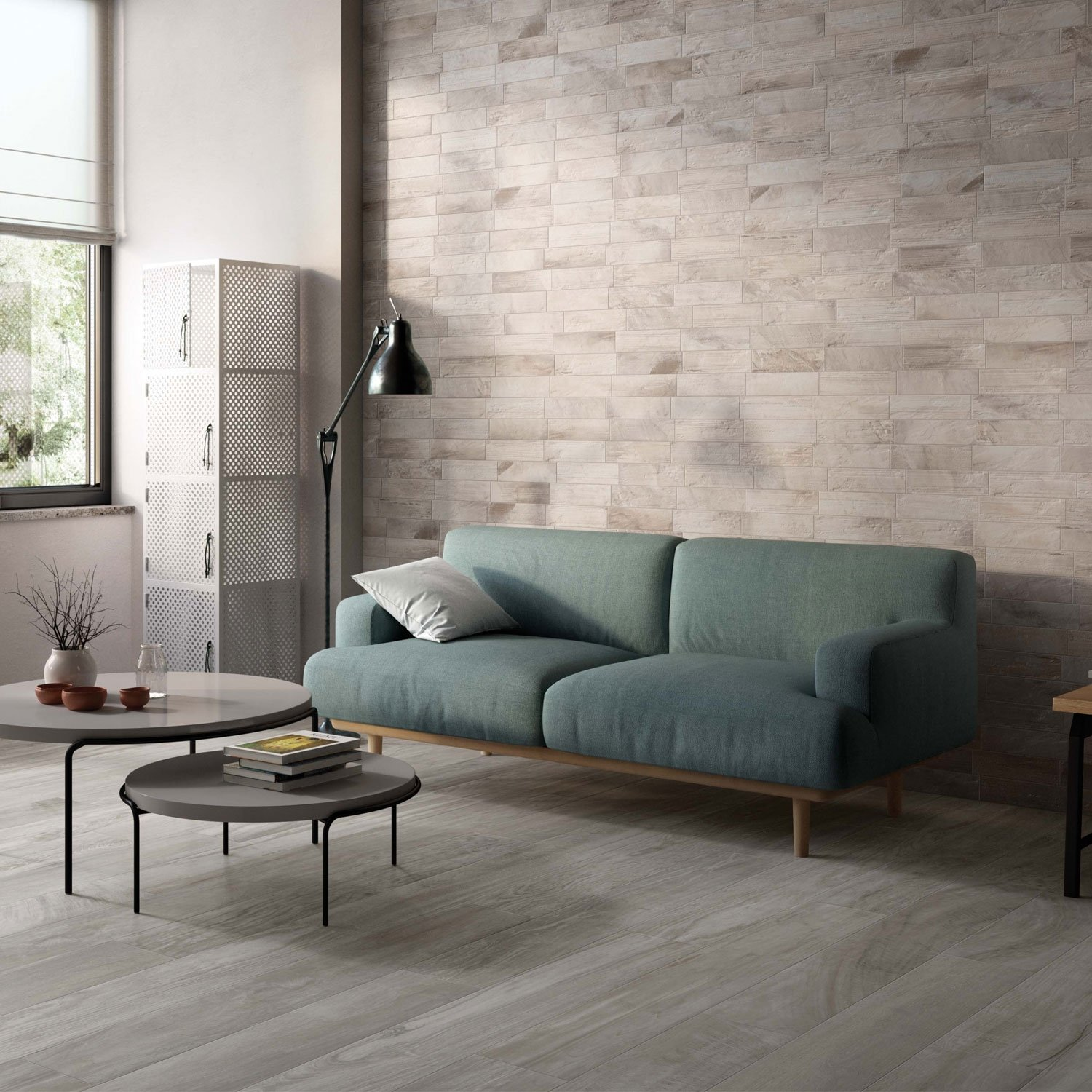 RAK Circle Wood Porcelain Tiles - 1200mm x 195mm - Grey (Box of 5)