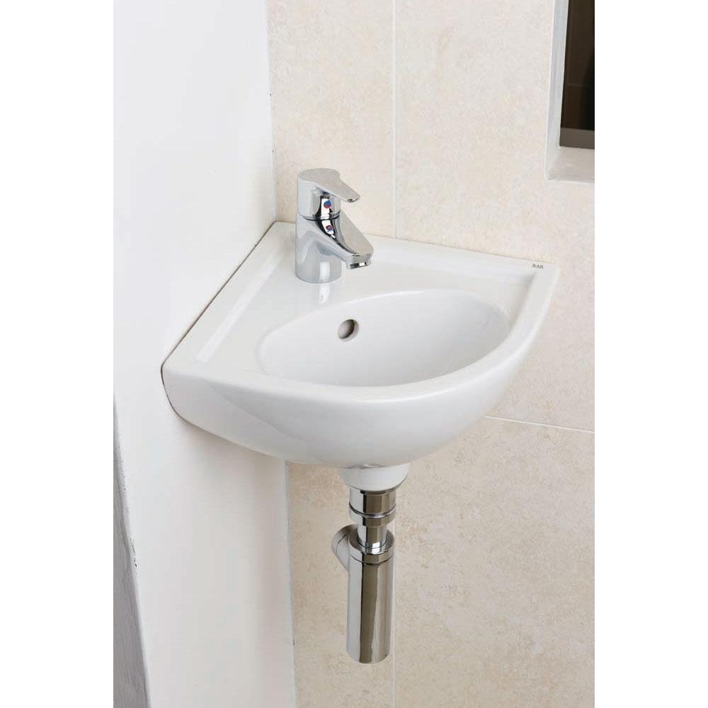 RAK Compact Corner Cloakroom Basin 440mm Wide 1 Tap Hole