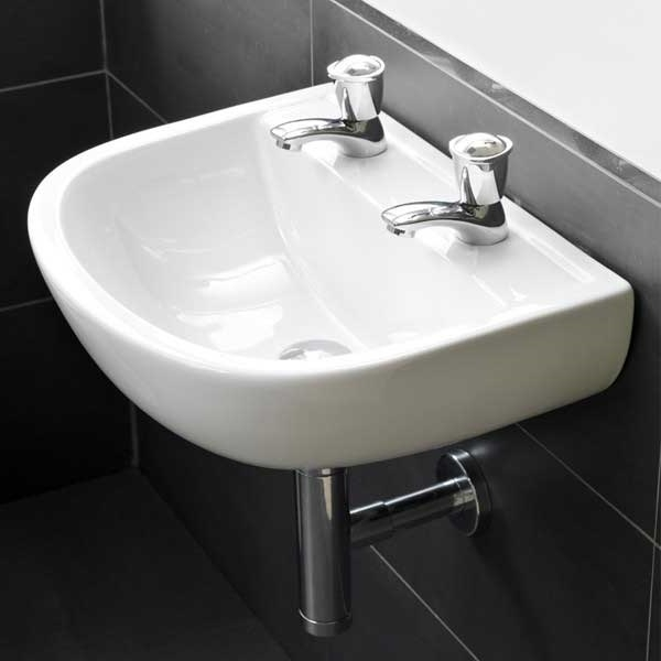 RAK Compact Special Needs Cloakroom Basin 500mm Wide 2 Tap Hole-0