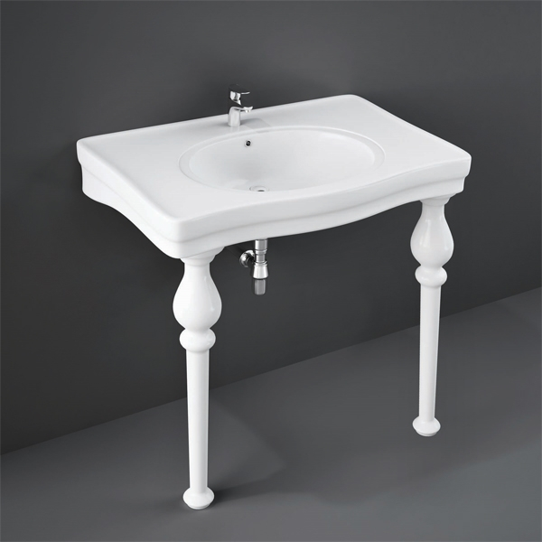 RAK Console Deluxe Basin with Ceramic Legs 1050mm Wide - 3 Tap Hole-1