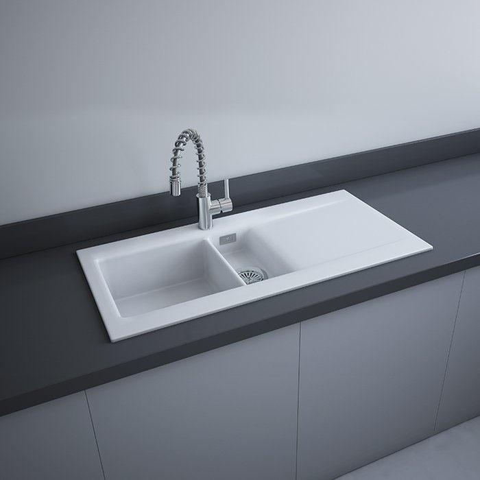 RAK Gourmet Dream 1 Ceramic Kitchen Sink 1.5 Bowl Reversible Drainer 1010mm L x 510mm W White