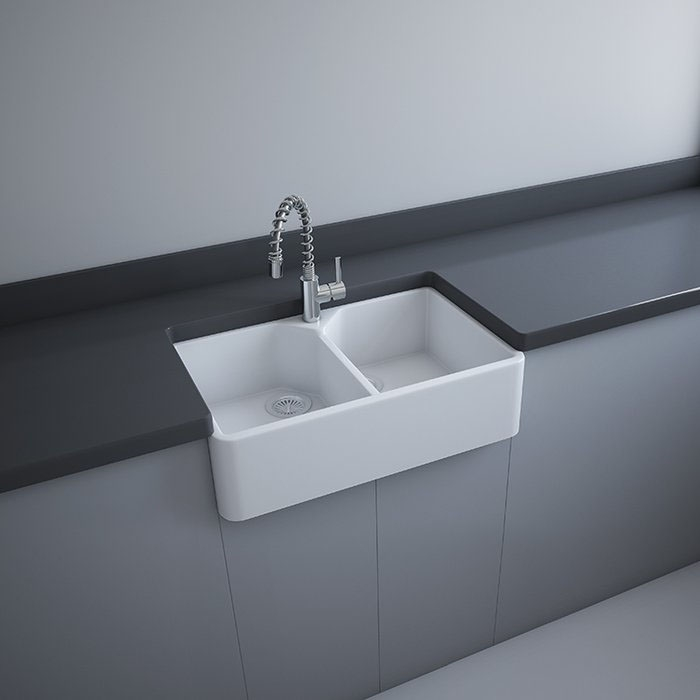 RAK Gourmet 10 Ceramic Belfast Kitchen Sink 2.0 Bowl 800mm L x 500mm W - White