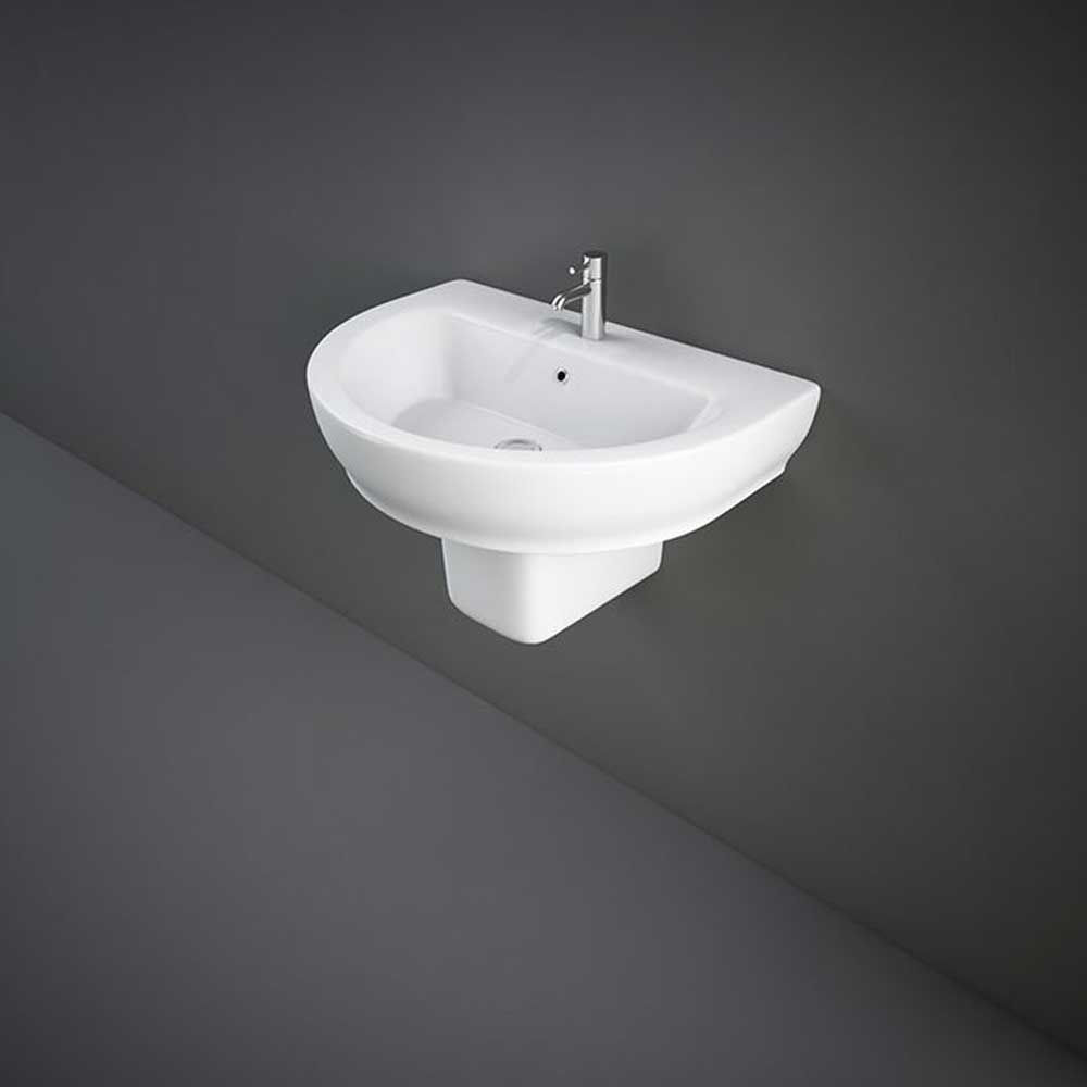 RAK Harmony Basin & Semi Pedestal 650mm Wide 1 Tap Hole