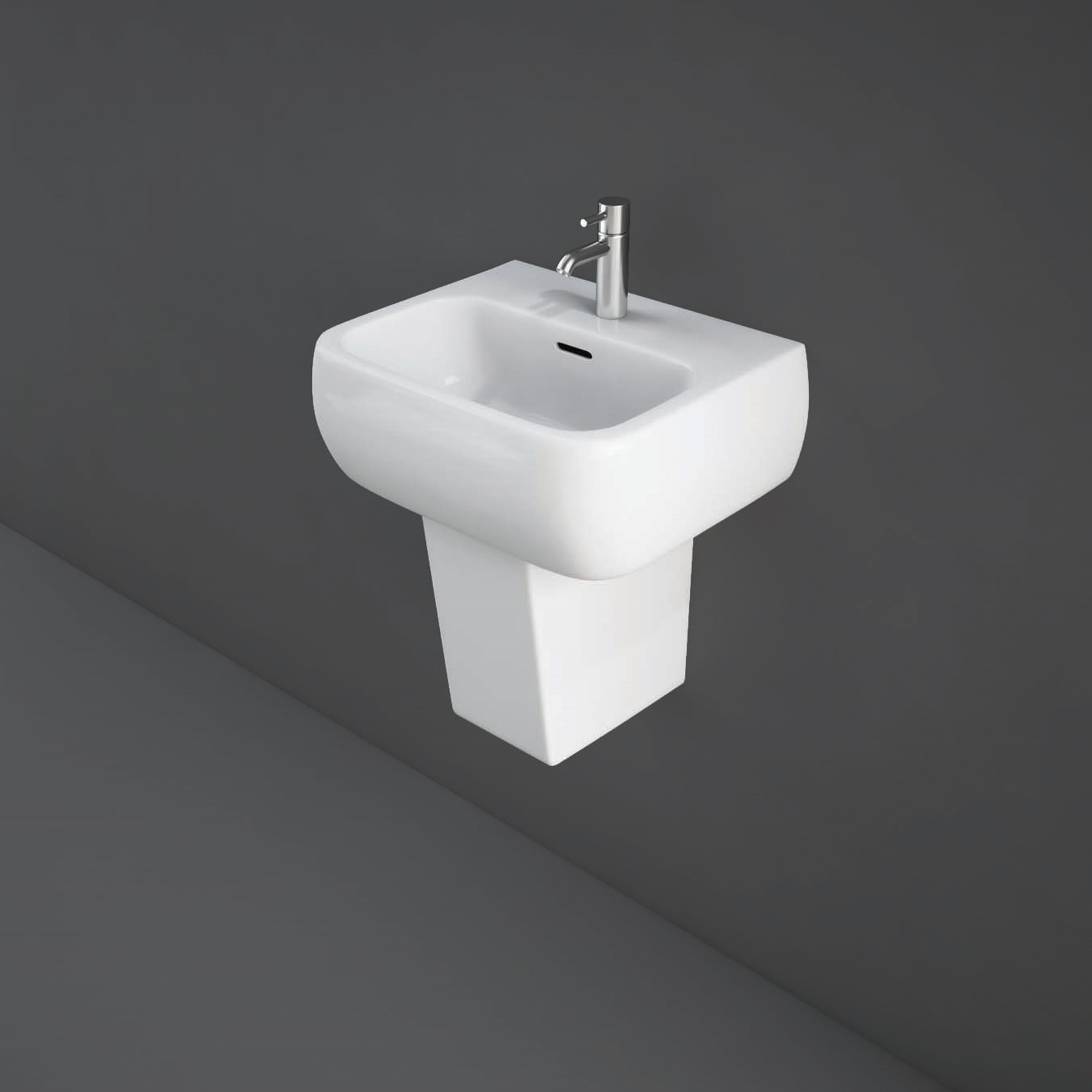RAK Metropolitan Basin & Semi Pedestal 420mm Wide 1 Tap Hole