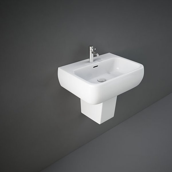 RAK Metropolitan Basin with Semi Pedestal 520mm Wide - 1 Tap Hole