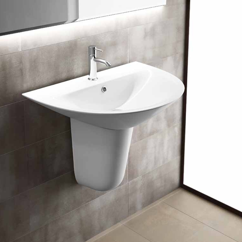 RAK Morning Basin with Semi Pedestal 600mm W - 1 Tap Hole