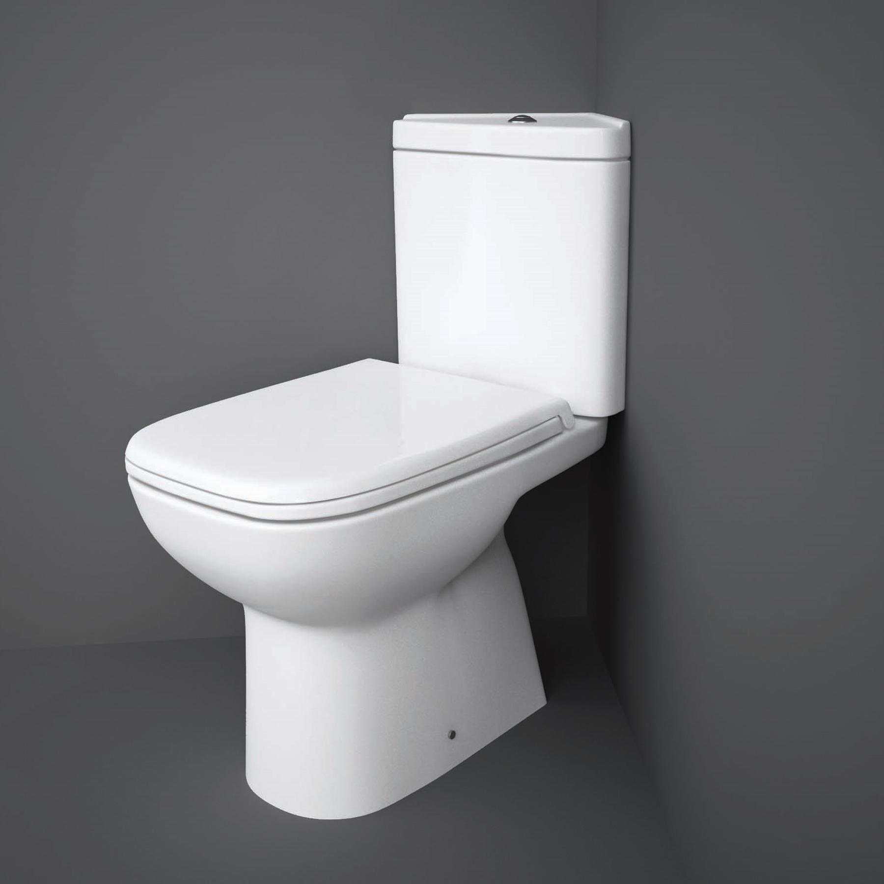 RAK Origin 62 Corner Full Access Close Coupled Toilet - Urea Soft Close Seat