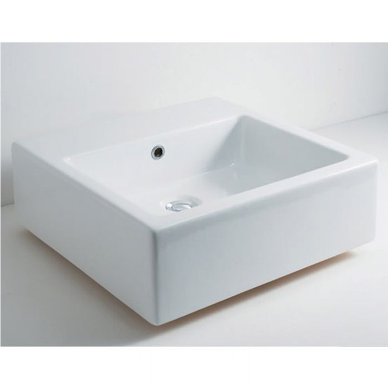 RAK Patrizia Square Sit-On Countertop Basin 510mm Wide - 0 Tap Hole