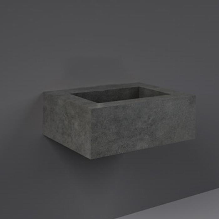 RAK Precious Wall Hung Console Wash Basin 630mm Wide 0 Tap Hole - Behind Grey