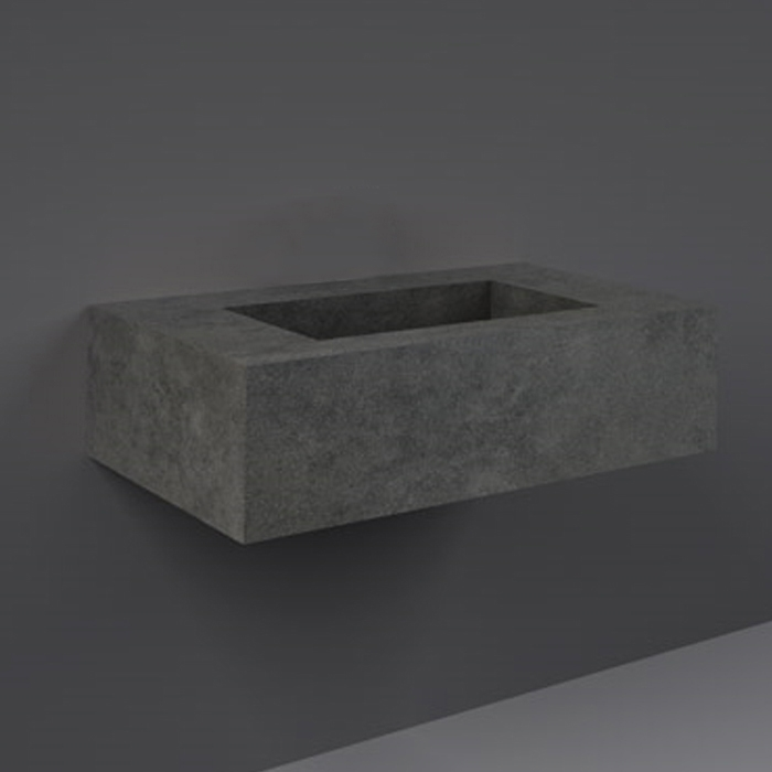 RAK Precious Wall Hung Console Wash Basin 830mm Wide 0 Tap Hole - Behind Grey