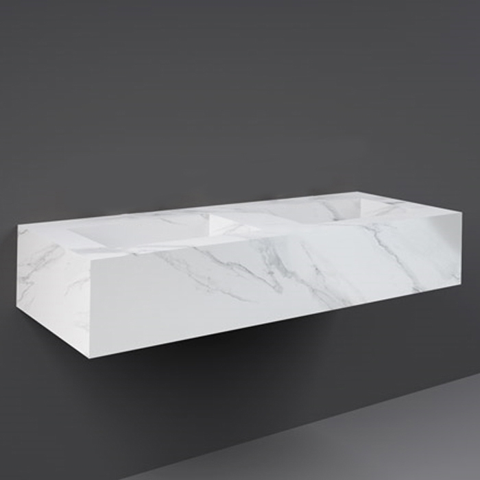 RAK Precious Wall Hung Console Wash Basin 1230mm Wide 0 Tap Hole - Carrara