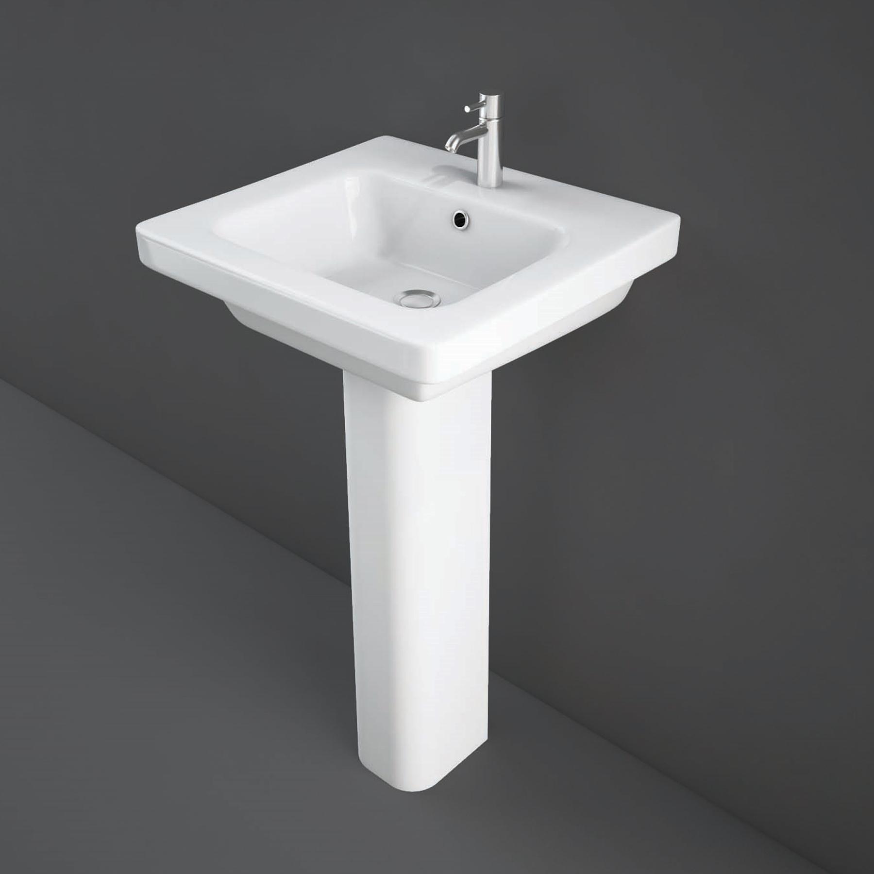 RAK Resort Wash Basin & Full Pedestal 500mm Wide 1 Tap Hole