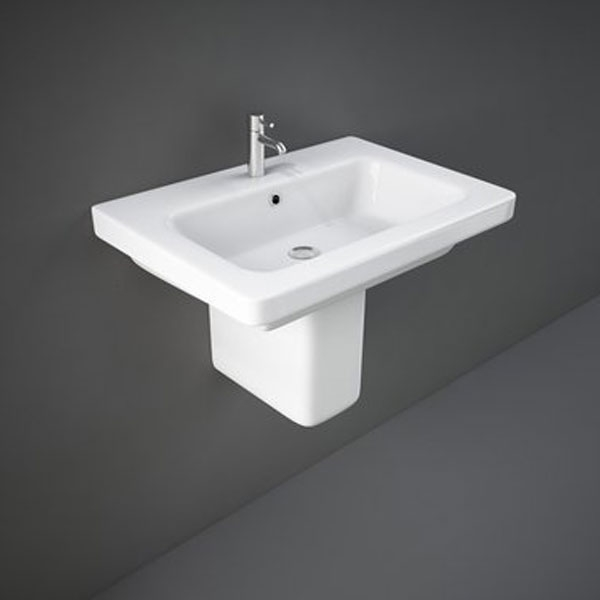 RAK Resort Wash Basin & Semi Pedestal 650mm Wide 1 Tap Hole