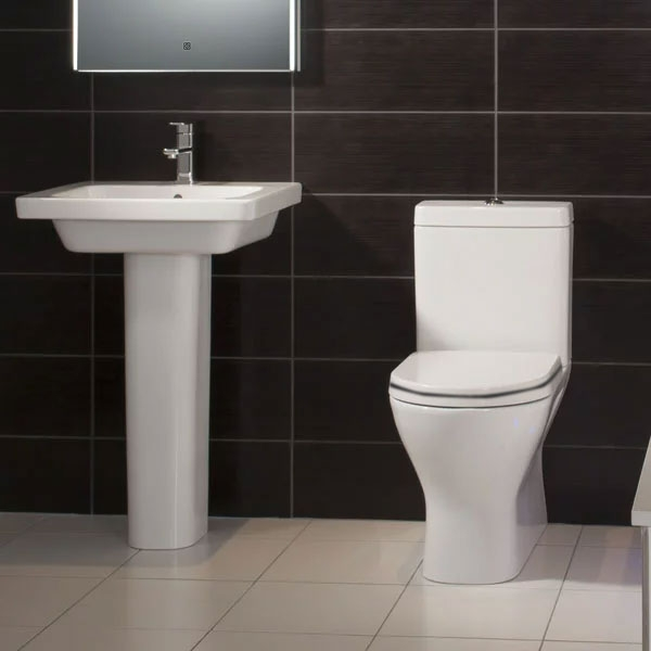 RAK Resort Maxi Close Coupled Back to Wall Rimless Toilet WC Pack - Soft Close Seat-0