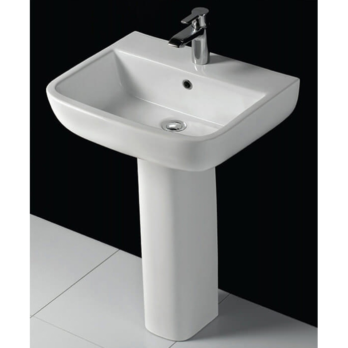 RAK Series 600 Basin & Full Pedestal 520mm Wide 1 Tap Hole