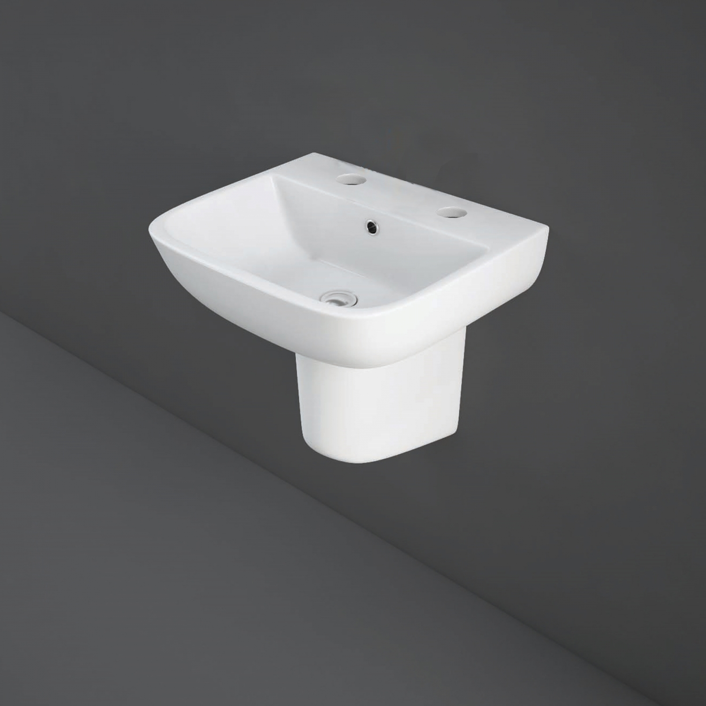 RAK Series 600 Basin & Semi Pedestal 520mm Wide 2 Tap Hole