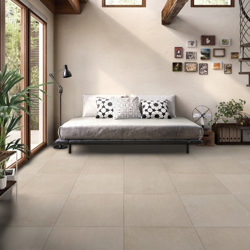 RAK Shine Stone Porcelain Tile - 600mm H x 600mm W - Beige (Box of 4)-0