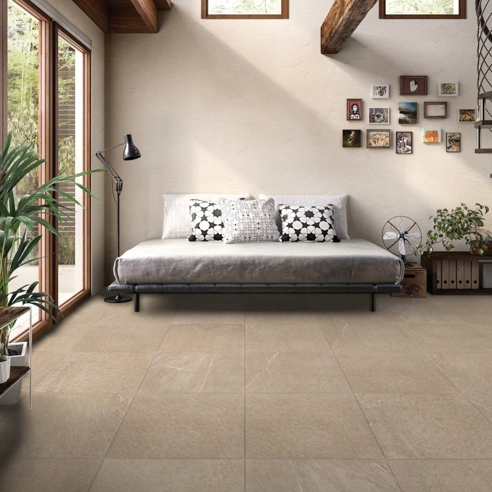 RAK Shine Stone Porcelain Tile - 600mm H x 600mm W - Dark Beige (Box of 4)-1