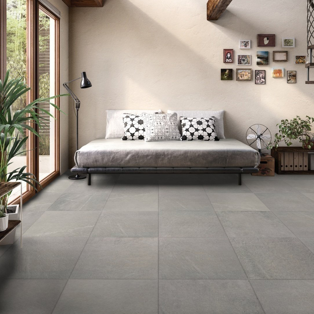 RAK Shine Stone Porcelain Tile - 600mm H x 600mm W - Grey (Box of 4)