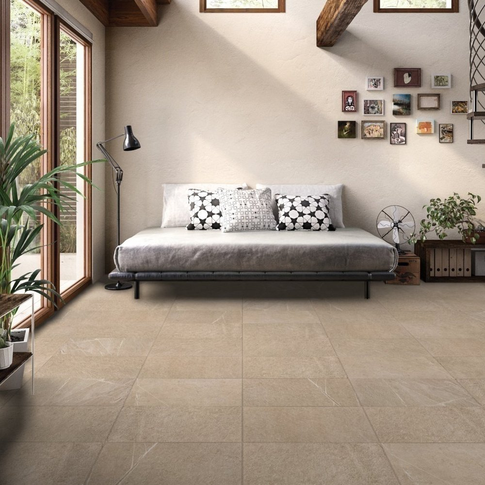 RAK Shine Stone Porcelain Tile - 600mm H x 300mm W - Dark Beige (Box of 6)