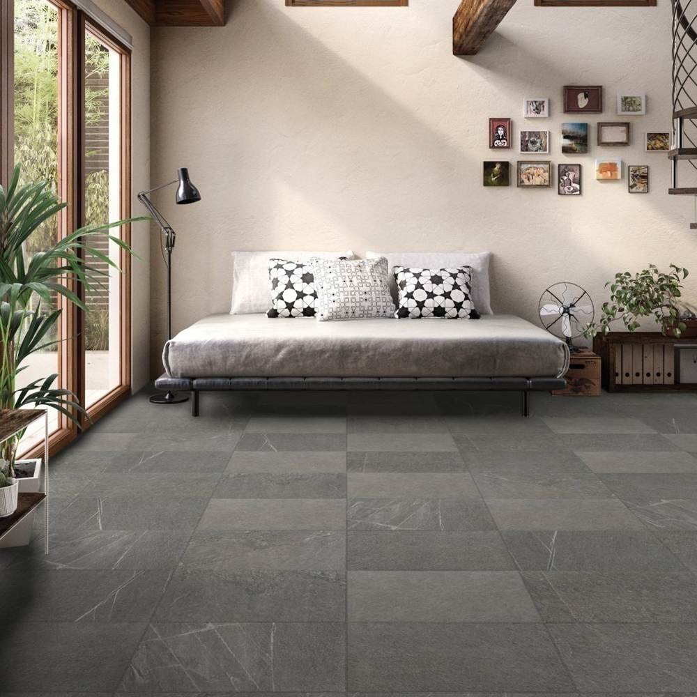 RAK Shine Stone Porcelain Tile - 600mm H x 300mm W - Dark Grey (Box of 6)