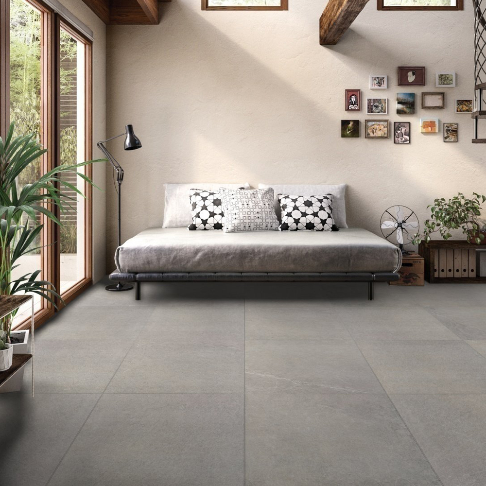 RAK Shine Stone Porcelain Tile - 750mm H x 750mm W - Grey (Box of 2)