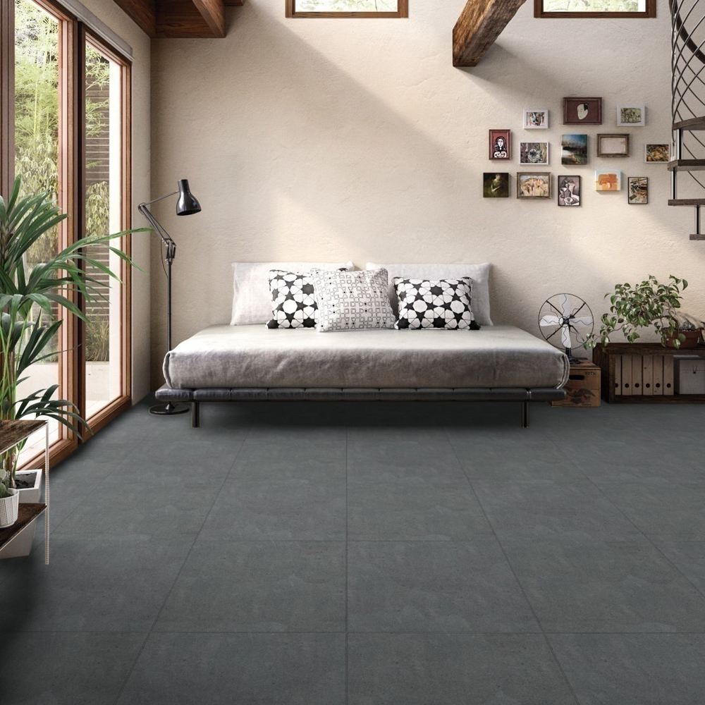 RAK Surface 2.0 Porcelain Matt Tile - 600mm H x 600mm W - Mid Grey (Box of 4)-1