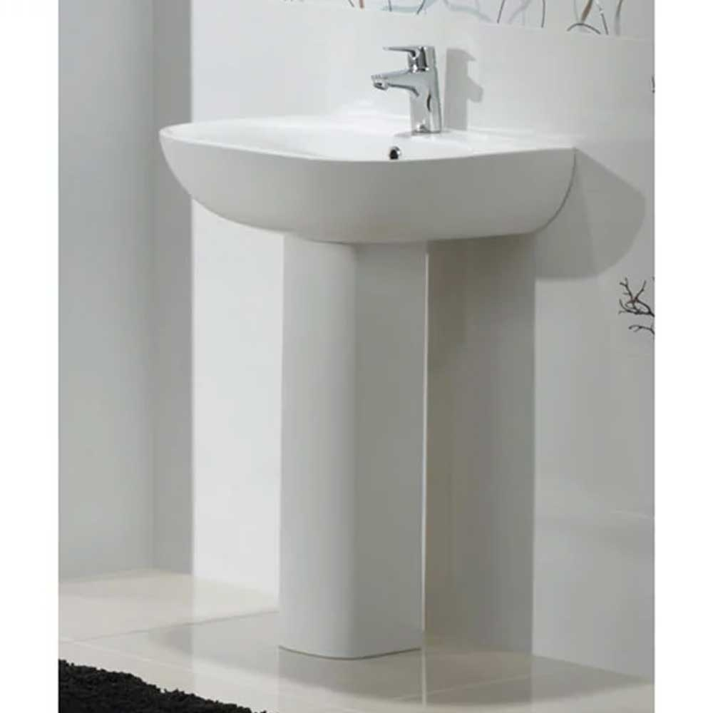 RAK Tonique Basin & Full Pedestal 550mm Wide 1 Tap Hole-0