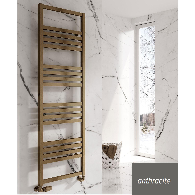 Reina Bolca Designer Heated Towel Rail 870mm H x 485mm W Anthracite