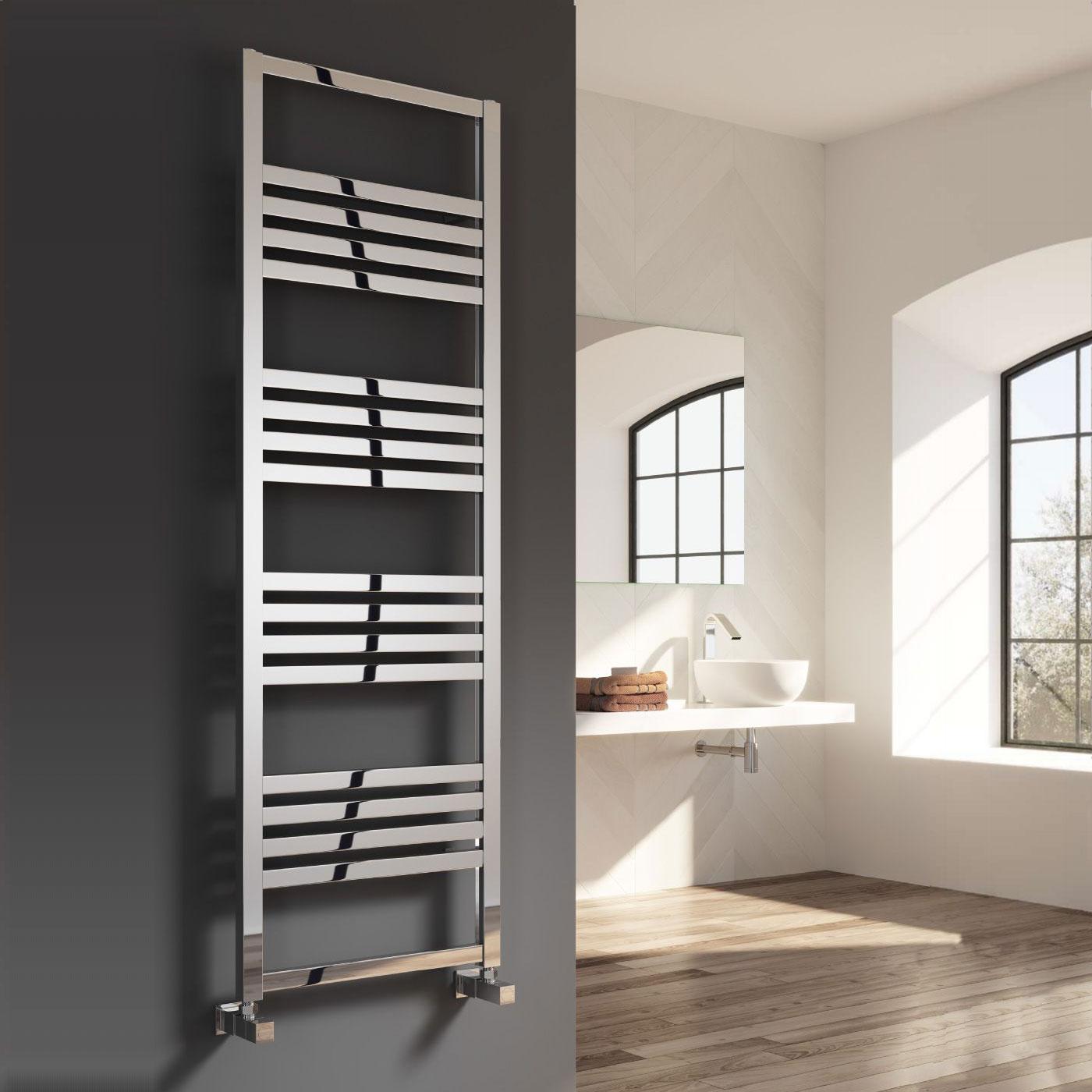 Reina Bolca Designer Heated Towel Rail 870mm H x 485mm W Polished