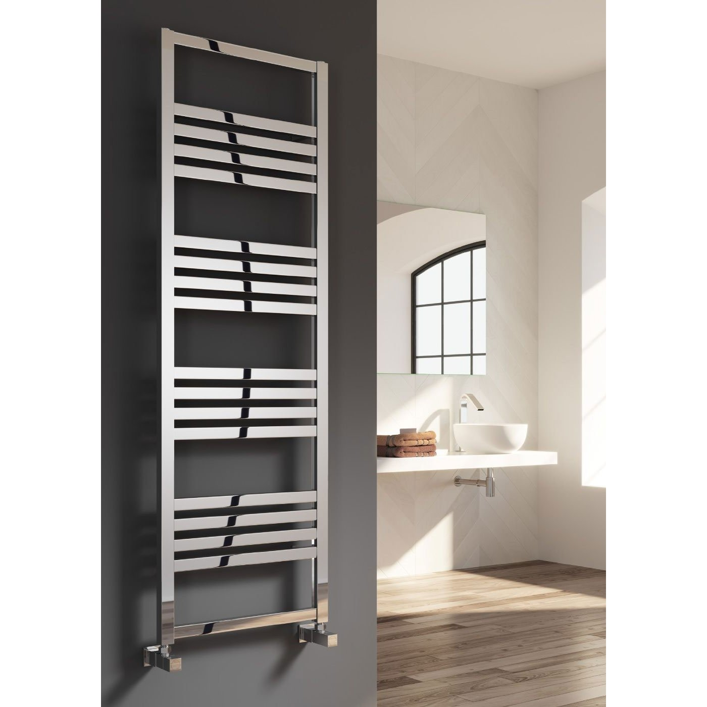 Reina Bolca Designer Heated Towel Rail 1200mm H x 485mm W Polished