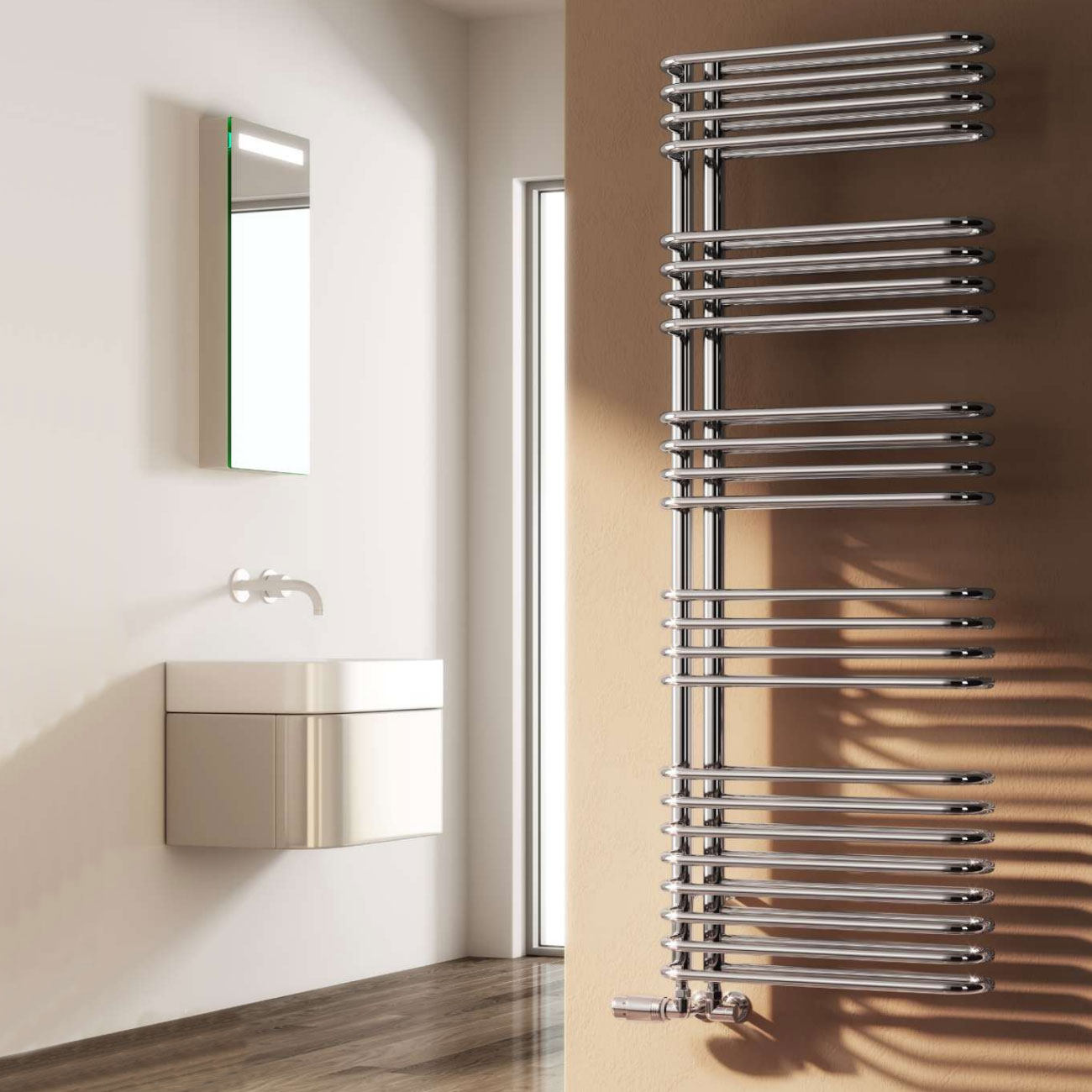 Reina Borgo Designer Heated Towel Rail 1300mm H x 500mm W Chrome-0