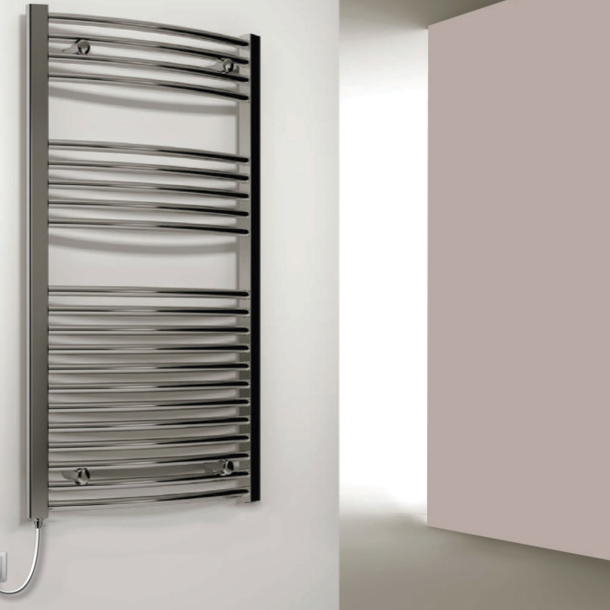 Reina Capo Curved Electric Heated Towel Rail 800mm H x 500mm W Chrome