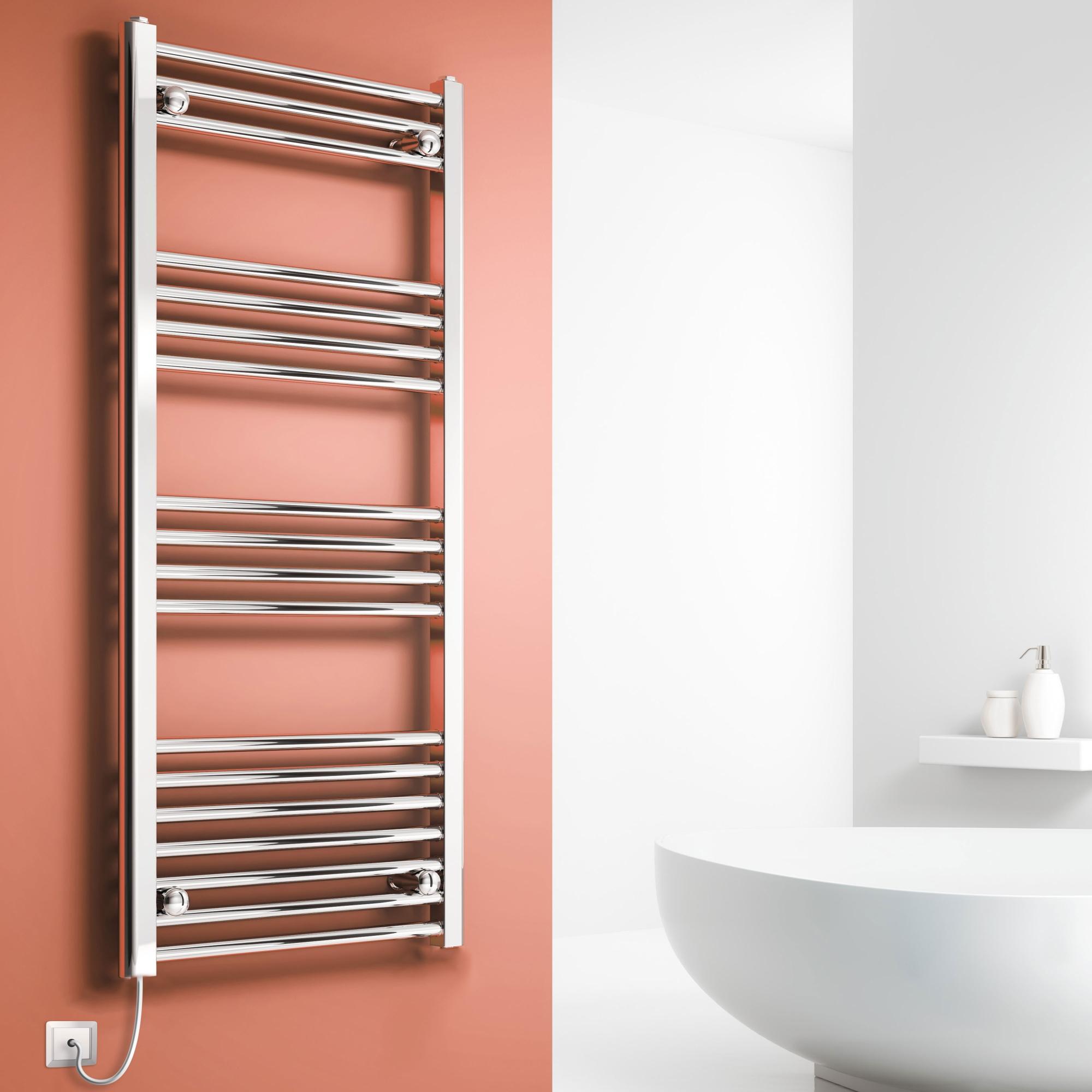Reina Capo Straight Electric Heated Towel Rail 1200mm H x 400mm W Chrome