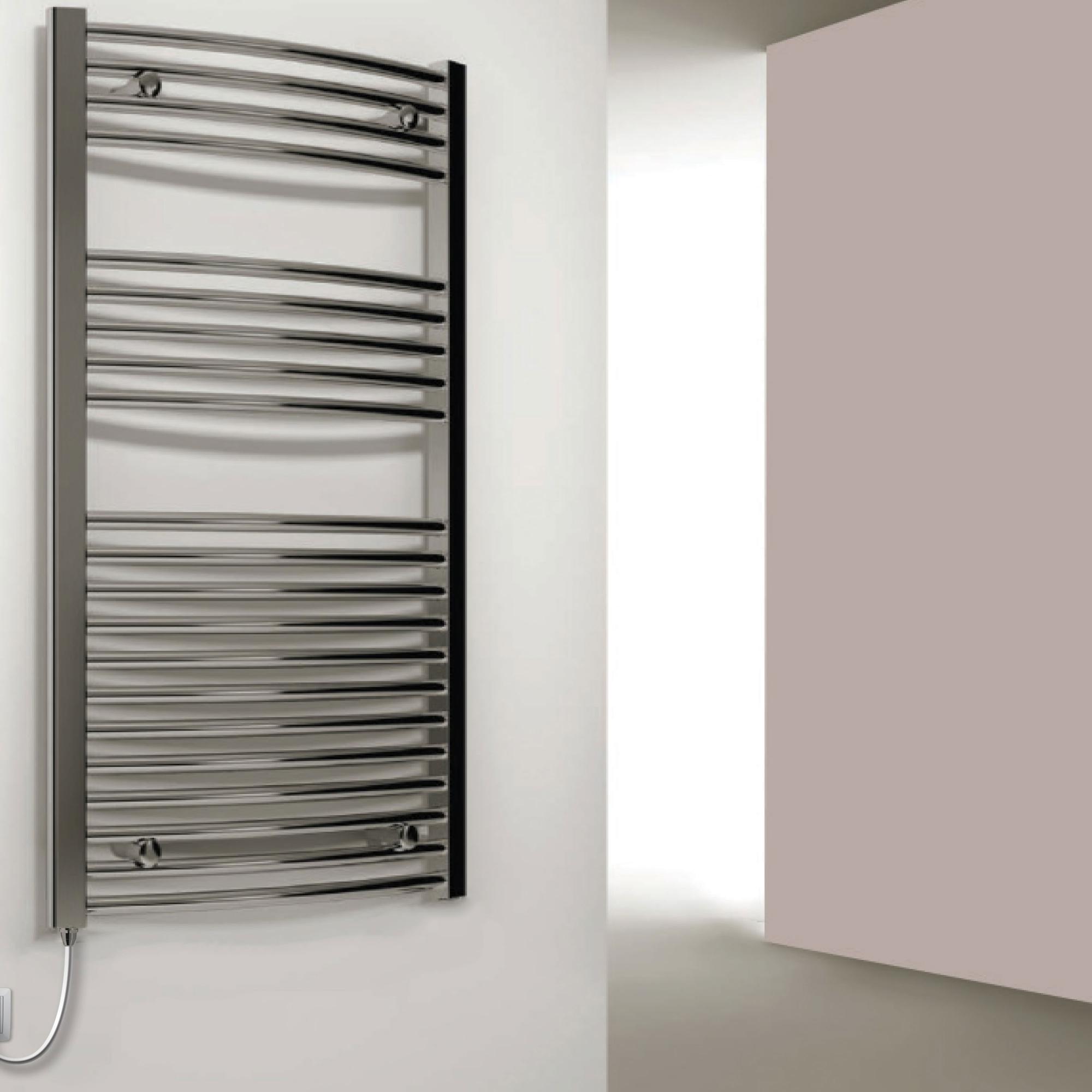 Reina Capo Curved Electric Heated Towel Rail 1200mm H x 600mm W Chrome-0