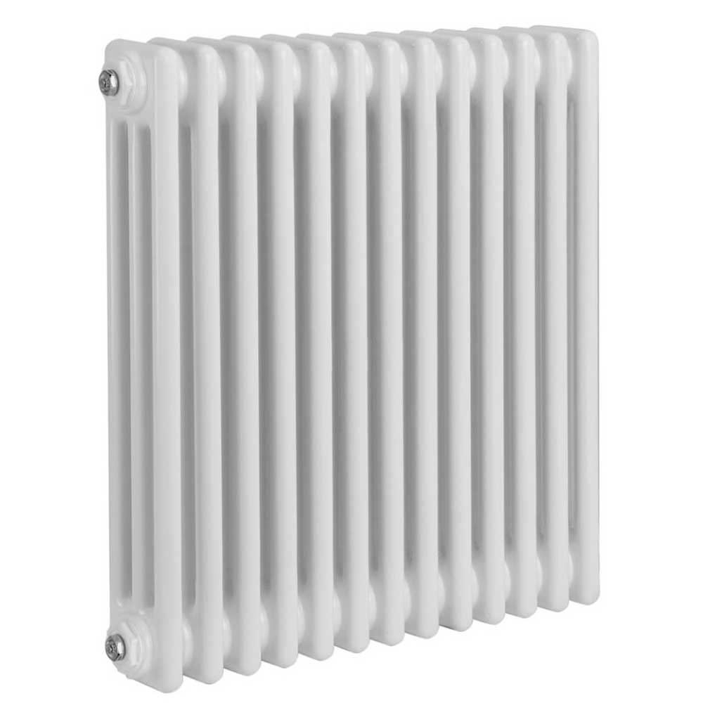Reina Colona 2 Column Horizontal Radiator 500mm H x 605mm W - White