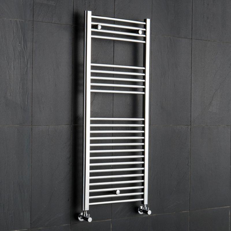 Reina Diva Straight Heated Towel Rail 1200mm H x 450mm W Chrome-0