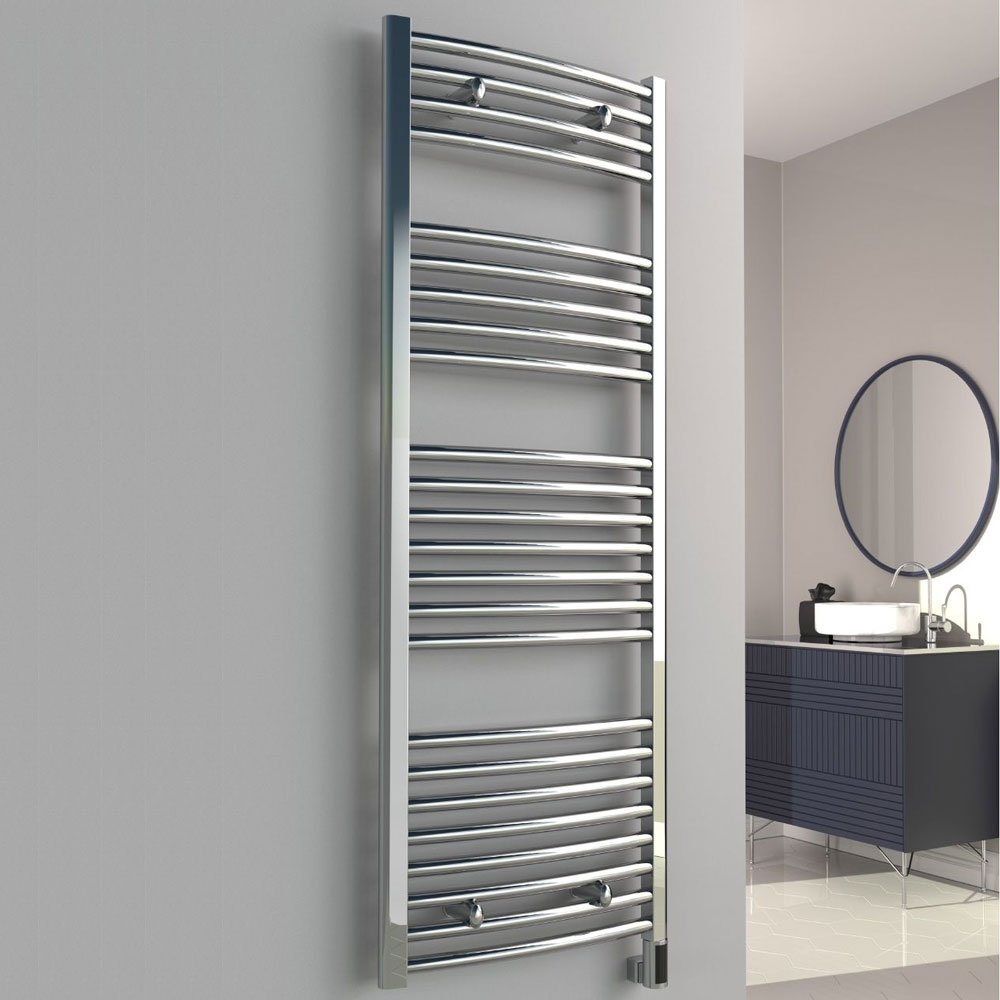 Reina Diva Thermostatic Electric Curved Heated Towel Rail 1000mm H x 400mm W Chrome