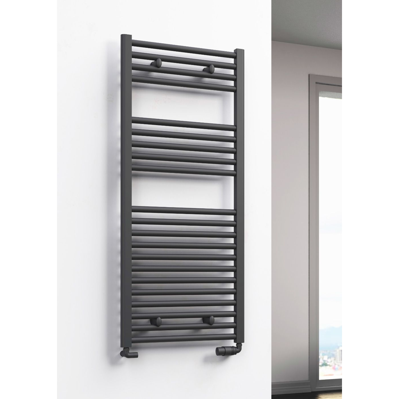 Reina Diva Flat Heated Towel Rail 1200mm H x 600mm W Anthracite