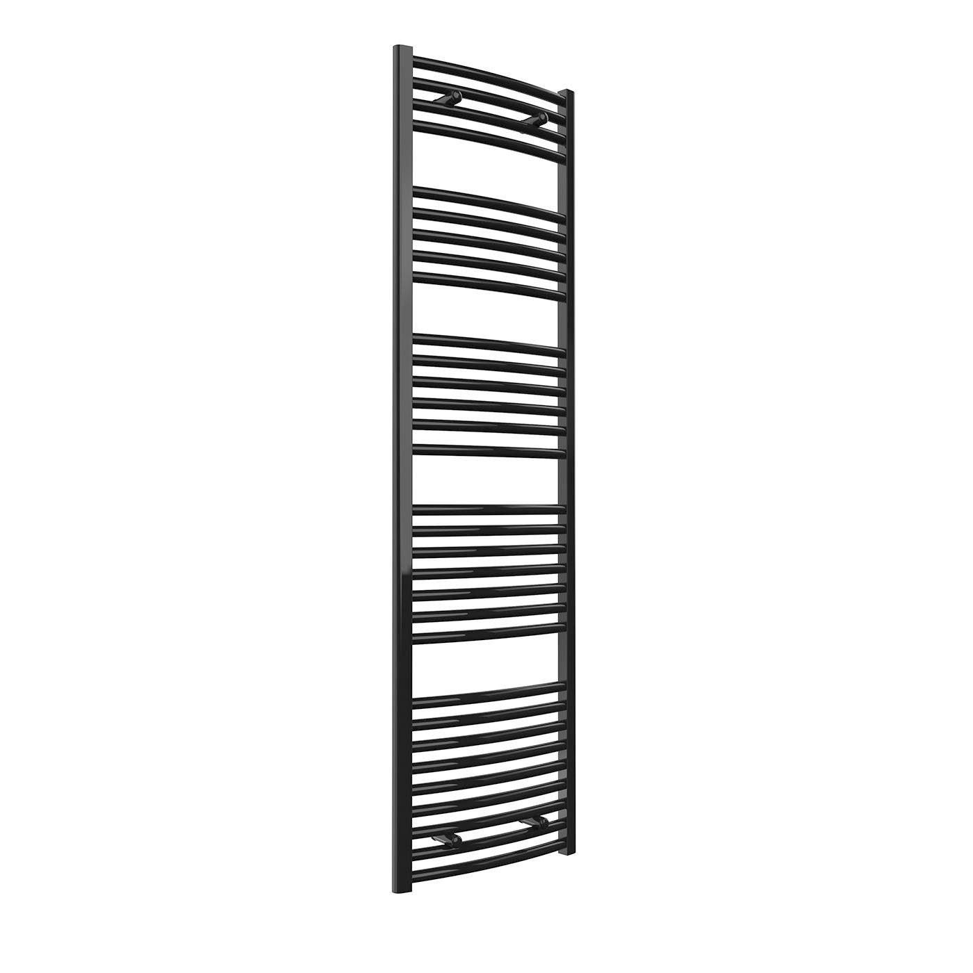 Reina Diva Flat Heated Towel Rail 800mm H x 400mm W Black