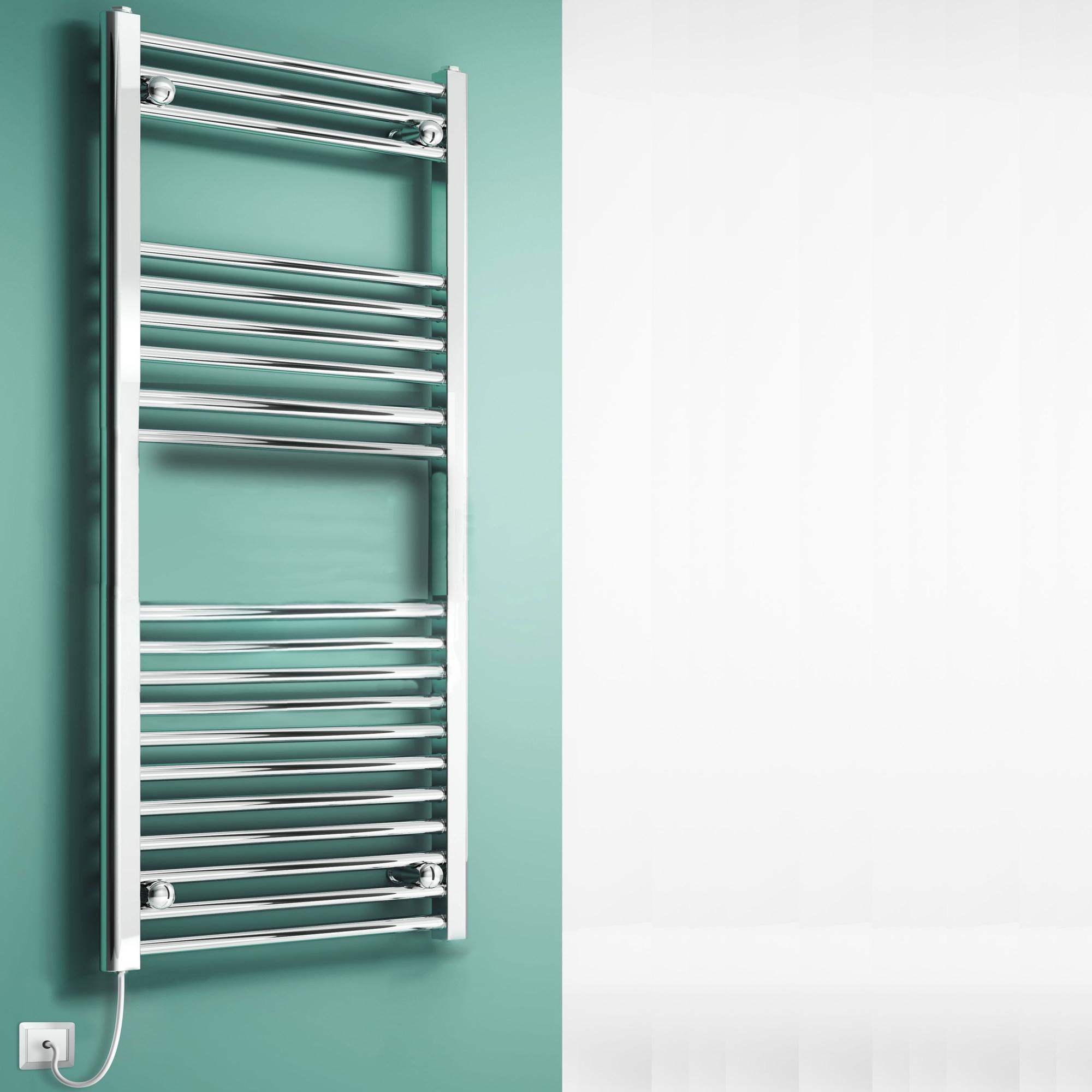 Reina Eross Dry Electric Heated Towel Rail 1100mm H x 300mm W