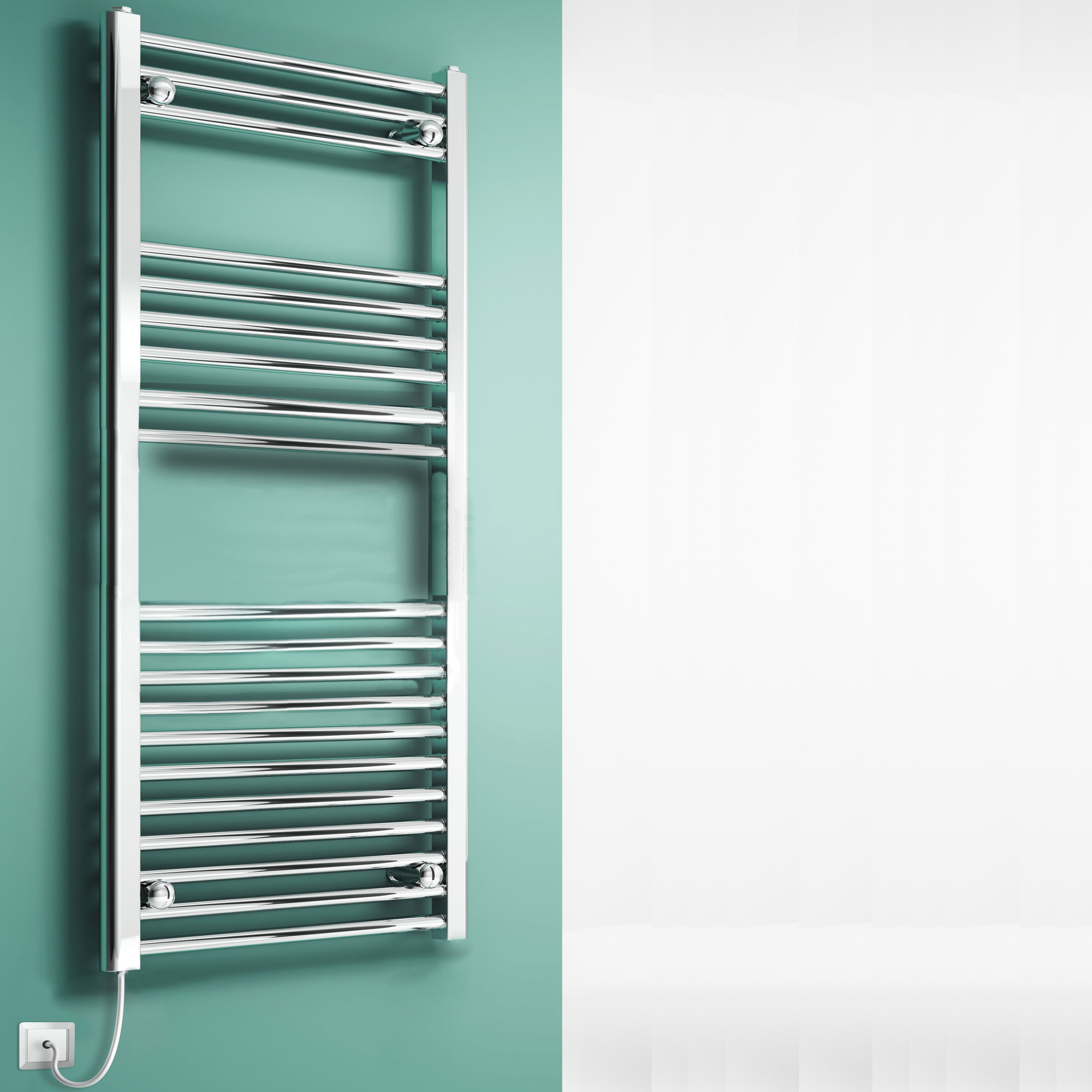 Reina Eross Dry Electric Heated Flat Towel Rail 1100mm H x 500mm W