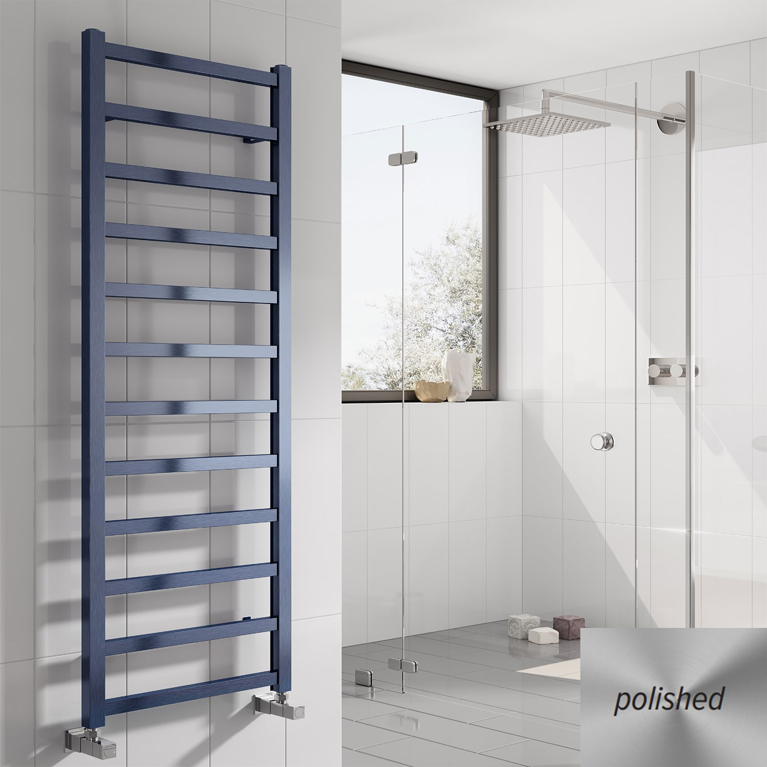 Reina Fano Designer Heated Towel Rail 1500mm H x 485mm W Polished