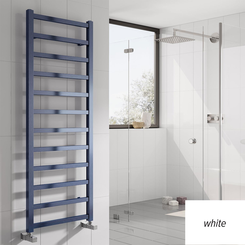 Reina Fano Designer Heated Towel Rail 1240mm H x 485mm W White
