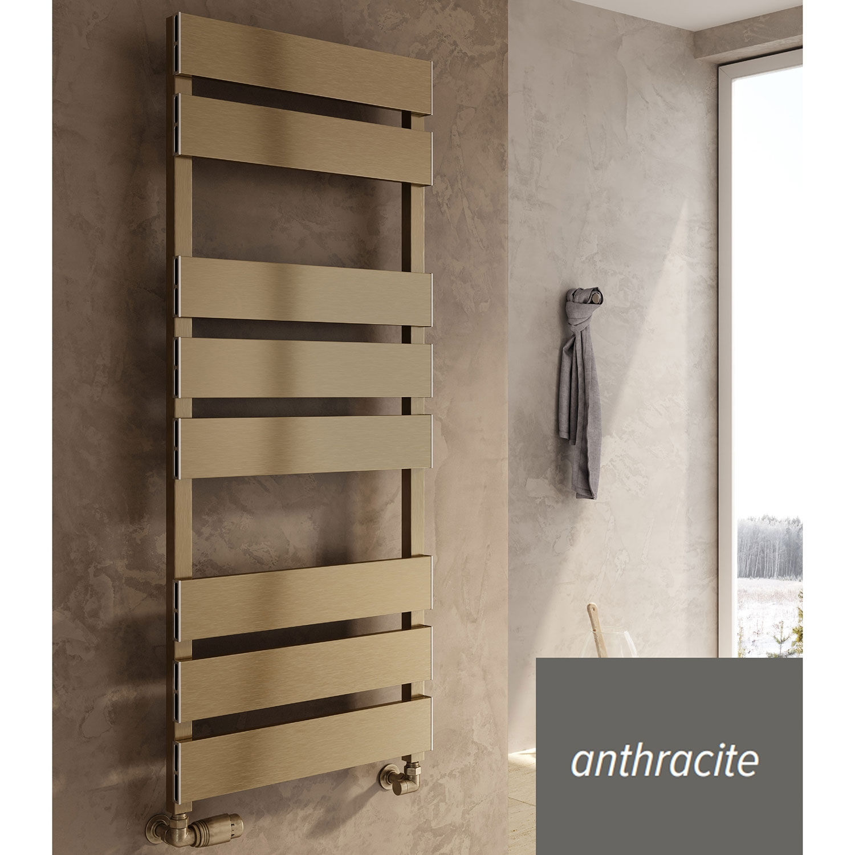 Reina Fermo Flat Panel Heated Towel Rail 1550mm H x 480mm W Anthracite