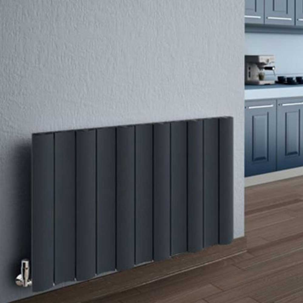 Reina Gio Single Horizontal Aluminium Radiator 600mm H x 470mm W Anthracite