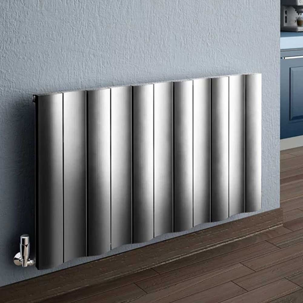 Reina Gio Single Horizontal Aluminium Radiator 600mm H x 470mm W Polished-0