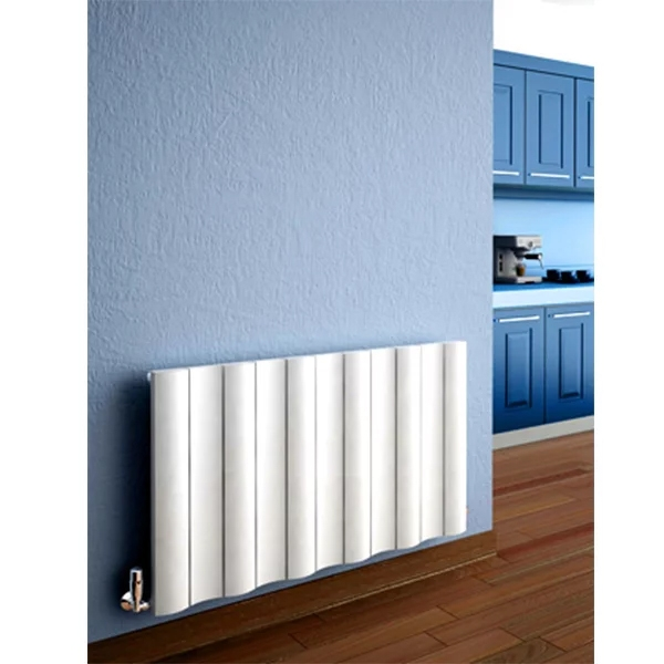 Reina Gio Single Horizontal Aluminium Radiator 600mm H x 470mm W White-0