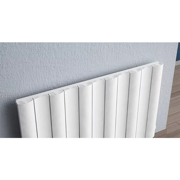 Reina Gio Single Horizontal Aluminium Radiator 600mm H x 470mm W White-1