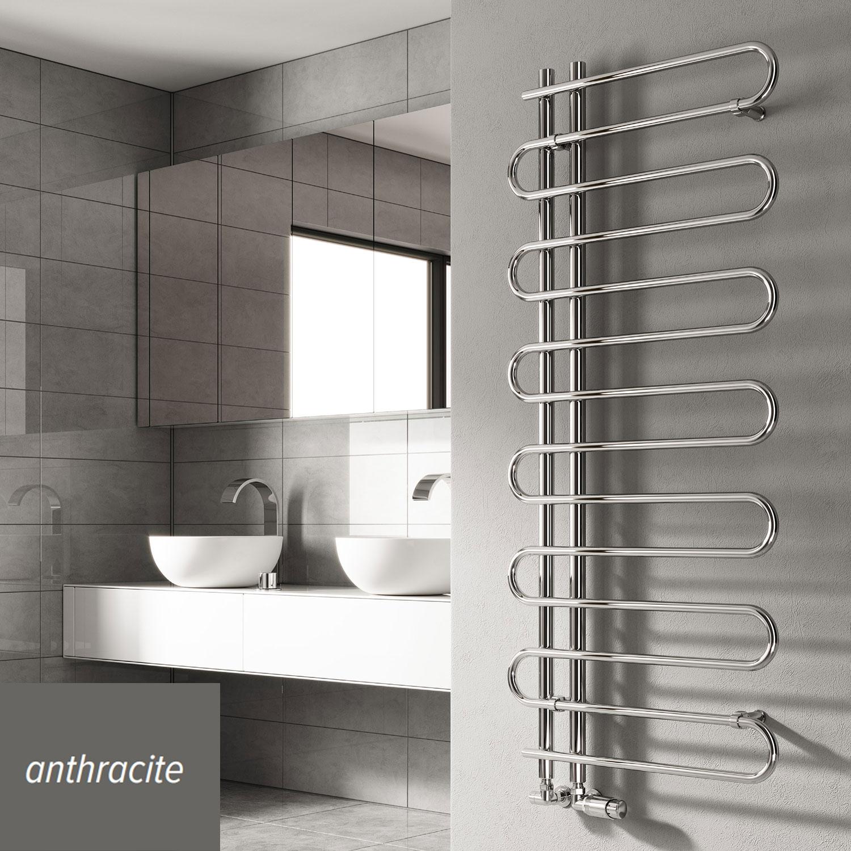 Reina Jesi Designer Heated Towel Rail 1000mm H x 500mm W Anthracite